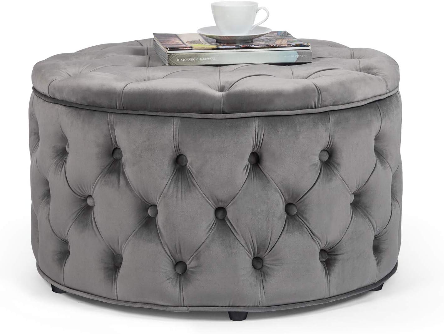 Homebeez Max 62% OFF Lowest price challenge Round Velvet Storage Ottoman Footrest Button St Tufted
