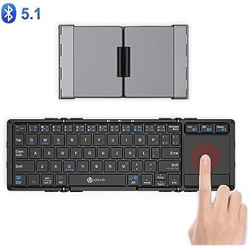 iClever キーボード Bluetooth 折りたたみ usb タッチパッド 3つデバイス同時切替可能 スタンド ミニキーボード アルミ Windows Android iOS Mac 対応 IC-BK08