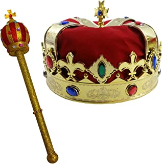 Funny Party Hats Kings Crown - Crown and Scepter - Costume Hats - Royal King`s Crown - Costume Dress Up Set