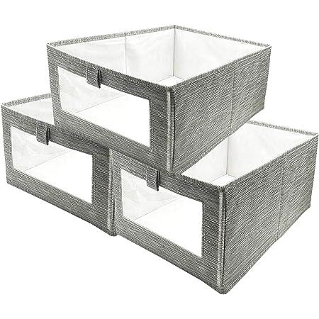 Boîte de Rangement, 3 Pack Caisses de Rangement, Boîte Range pour Vêtement, Jouets, Magazine pour Maison, Bureau, Crèche, Placard, Chambre à Coucher
