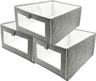 Boîte de Rangement, 3 Pack Caisses de Rangement, Boîte Range pour Vêtement, Jouets, Magazine pour Maison, Bureau, Crèche, ...
