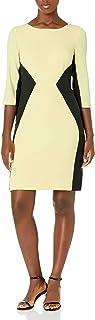 Women's 3/4 Sleeve Color Block Sheath Dress