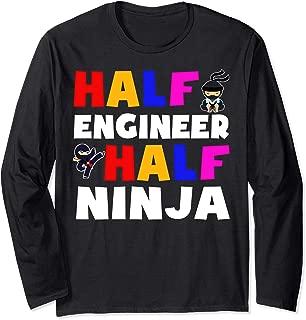 Half engineer half ninja tshirt Long Sleeve T-Shirt