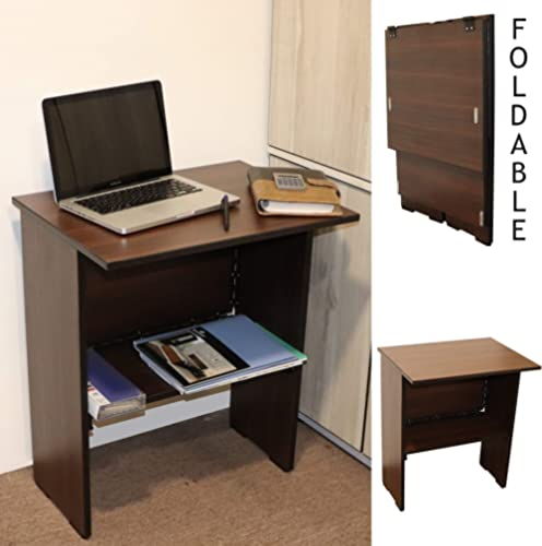 Spacecrafts Wooden Folding Computer Table for Laptop Study Office Desk (Standard, Brown) product image