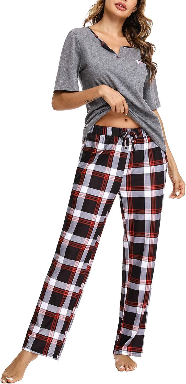 Doaraha Pijama a Cuadros para Mujer Camiseta y Pantalones Pijamas Manga Larga Celosía Ropa de Dormir de Algodón Manga Corta con Bolsillo Cuello de Muesca 2 Piezas