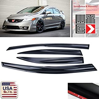 VITO 4pcs Side Window Deflectors Original Window Visors for 2006 2007 2008 2009 2010 2011 Honda Civic 4 Door Sedan Vent Visor Sun/Rain Guard