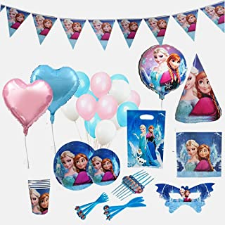 Disney Frozen Birthday Party Supplies Decoration for 12 Guests with Ultimate 150 Plus Items Including Forks Knives Plates ...