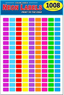"Pack of 1008, 1/2"" x 3/4"" Rectangle Color Coding Dot Labels, 9 Bright Neon Colors, 8 1/2 x 11 Inch Sheet, Fits All Laser/I..."