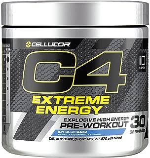 Cellucor C4 Extreme Energy Pre Workout Powder Energy Drink w/ Caffeine, Creatine, Nitric Oxide & Beta Alanine, Icy Blue Razz, 30 Servings