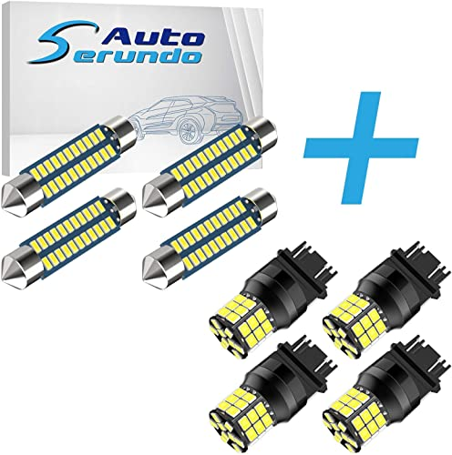 new arrival Serundo Auto 4pcs 42mm 578 LED Bulbs + 4pcs sale 3157 popular Led Bulb, 211-2 LED Bulbs for Car Map Dome Courtesy Trunk Light and 3056 3156 3057 4057 4157 Led Bulbs For 12V 24V Car Backup Reverse Brake Tail Lights online