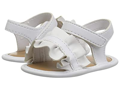 Baby Deer Sandal with Ruffle Waddle (Infant) (White) Girls Shoes
