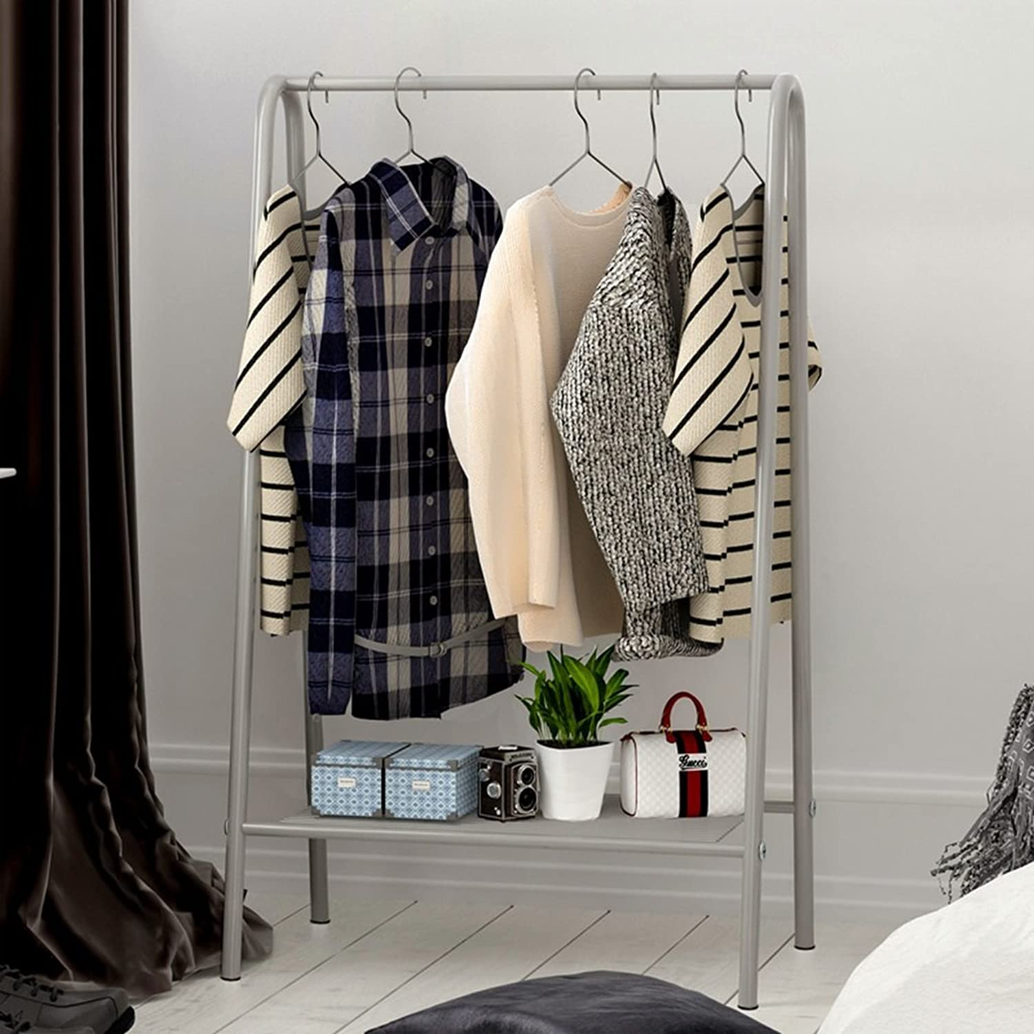 GJM Shop Iron Floorstanding Coat Rack Simple Can Be Placed Bedroom is Simple and Modern Clothes Hanger Living Room Racks 63  35  117cm (color   3)