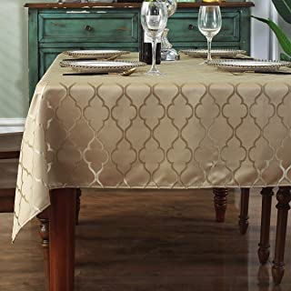 "Jacquard Tablecloth Flower Pattern Polyester Table Cloth Dust-Proof Wrinkle Resistant Soft Table Cover for Kitchen Dinning Tabletop Decoration (Rectangle/Oblong, 60"" x 84"" (6-8 Seats), Gold)"