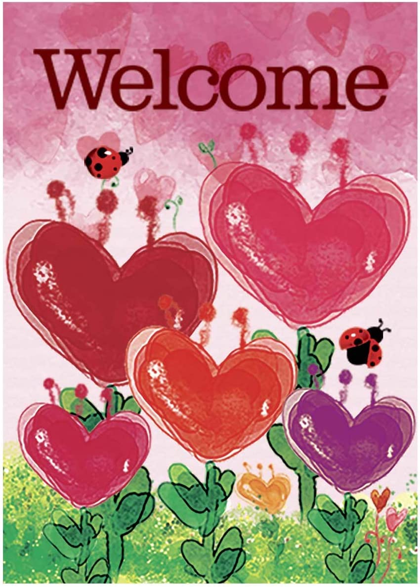 Morigins Dancing Hearts Welcome Valentines Day Garden Flag Double Sided Decorative Flag 12.5 x 18 Inch