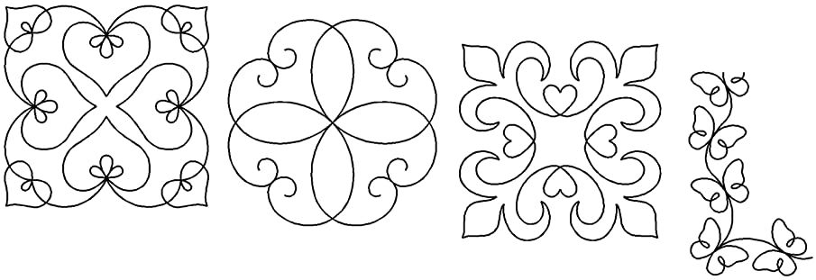 Quilting Creations Stencils for Machine and Hand Quilting | Set of 4 Quilt Plastic Stencils for Borders, Background, Block, Medallion Patterns | Heart, Scroll Motif, Elegance, Butterfly Border