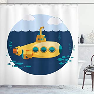 Ambesonne Yellow Submarine Shower Curtain, Illustration of a Submarine Under The Sea Fish and Clouds, Cloth Fabric Bathroom Decor Set with Hooks, 75 Long, Yellow Navy