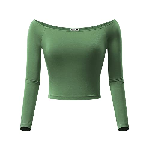 04b35dbce4a HUHOT Womens Basic Off-Shoulder Long Sleeve Cami Crop Top Fitted Shirt
