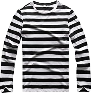 Zecmos Long Sleeve Striped Shirt Men Crew Neck Stripes Tees Casual