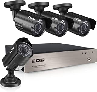 ZOSI 8-Channel HD-TVI 1080N/720P Video Security System DVR Recorder with 4X HD 1280TVL Indoor/Outdoor Weatherproof CCTV Cameras NO Hard Drive Smartphone& PC Easy Remote Access (Renewed)
