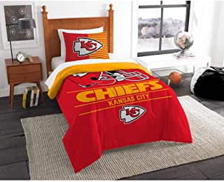 3 Piece NFL Chiefs Comforter Full Queen Set, Red Yellow Football Themed Bedding Sports Patterned, Team Logo Fan Merchandise Athletic Team Spirit Fan, Polyester, For Unisex