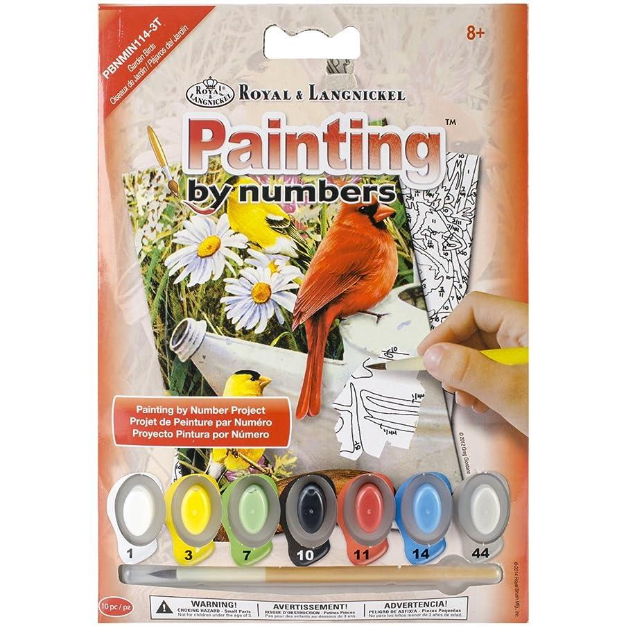 ROYAL BRUSH PBNMIN-114 Garden Birds Mini Paint by Number Kit, 5