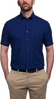 eterna Short-sleeved shirt, regular fit, seersucker, plain