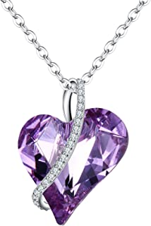 EleQueen Sterling Silver CZ Love Heart Birthstone Necklace Hypoallergenic Crystals Pendant Jewelry for Women Girls