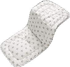 Baby Sitzauflage für Kinderwagen, 32x80 cm Baby Sitzeinlage aus 100% Baumwolle Weiche und Reversible Autositz Kinderwagenauflage für Babyschale BuggyGraue Sterne