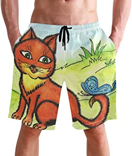 Beach Shorts, Funny Cat with Butterfly Printed Mens Trunks Swim Short Quick Dry with Pockets for Summer Surfing Boardshort...
