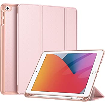 """Fintie Funda para iPad 10.2"""" 2020/2019 con Soporte Integrado para Pencil Original - Carcasa Ligera Trasera de TPU Suave con Función de Auto-Reposo/Activación para iPad 8/7.ª Gen (Oro Rosa)"""