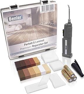 BENLER NEU! - Holz Reparaturset mit 2in1 Wachsschmelzer für Laminat, Parkett & Vinyl - Reparatur Set, auch für PVC und Kunststoff geeignet - 19-teiliges Laminat Reparatur Kit Holzreparatur Set