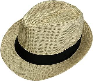 Unisex Summer Panama Straw Fedora Hat Short Brim Beach Sun Cap Classic
