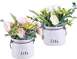 LUEUR Artificial Flowers in Ceramic Vase 2 Pack Potted Fake Floral Flower Hanging Wall Silk Flower Arrangement Bonsai for ...