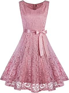 VIJIV Women's Floral Lace Short Bridesmaid Dress Sleevless A-Line Wedding Party Dress V Neck
