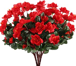 GTIDEA 4pcs Silk Flower Artificial Azalea Fake Faux Primroses Bouquet Arrangements DIY Home Garden Table Patio Wedding Party Christmas Decoration Red