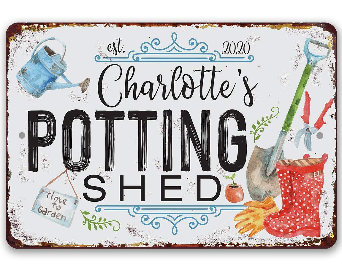 Personalized Sales - Potting Shed Durable Metal x 1 Sign Fresno Mall 8