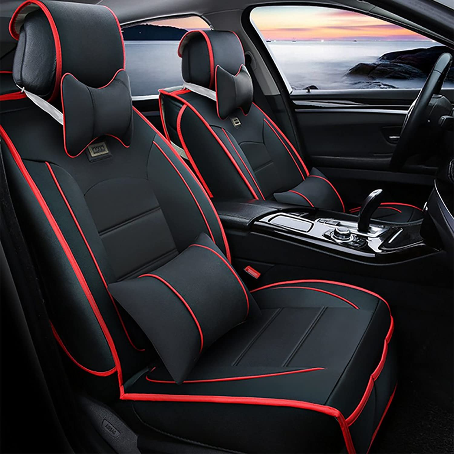 Universal Full Set Easy to Clean PU Leather Car Seat Cushions 5 Seats