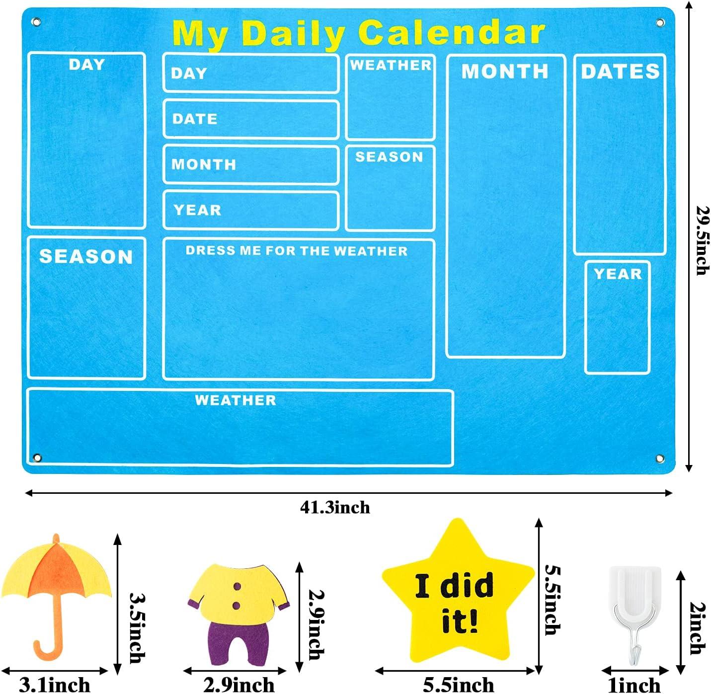 WATINC My First Daily Calendar Felt-Board for Kids 3.5Ft 70Pcs All About...