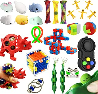 Dciko Sensory Fidget Toys Set-Stress Relief Toys Sensory Tools for Adults and Autistic Kids Anti-Anxiety Calming Toys for ADHD Autism Fidget Set 21 Pack Sensory Box Include Rainbow Puzzle Ball & More