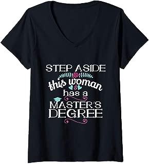 Womens Graduation Masters Degree Women Gift Funny Grad MSW MBA V-Neck T-Shirt