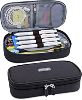 Aiscool Big Capacity Pencil Case Holder Canvas Bag Pen Organizer Pouch Stationery Box Oxford Cloth Large Storage for School Supplies School Office Stuff (Black)