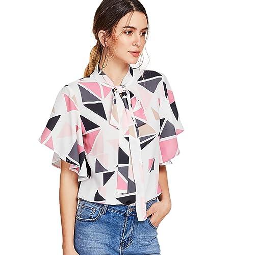 2bf542bd01173c Romwe Women s Color Block Ruffle Short Sleeve Blouse Shirt Tie Neck  Geometric Print Top