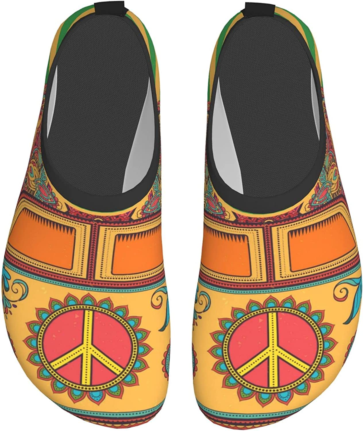 Hippie Mini Van with Pacifist Sign Water Shoes for Womens Mens B