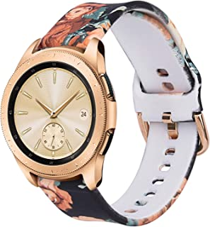 KOREDA Compatible with Samsung Galaxy Watch 42mm/Active/Active 2 40mm/44mm Bands, 20mm Soft Fadeless Pattern Printed Floral Bands Silicone Replacement for Galaxy Watch 3 41mm/Gear Sport