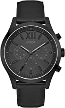 GUESS  Smooth Genuine Leather Chronograph Watch with Date. Color: Black (Model: U0789G4)