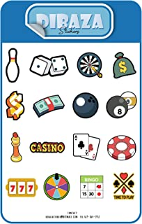 Sticker Casino Bet Craps Roulette Baccarat Blackjack Laptop Books Gift Decoration Sticker for All Occasions 16 pc 2 Sheet