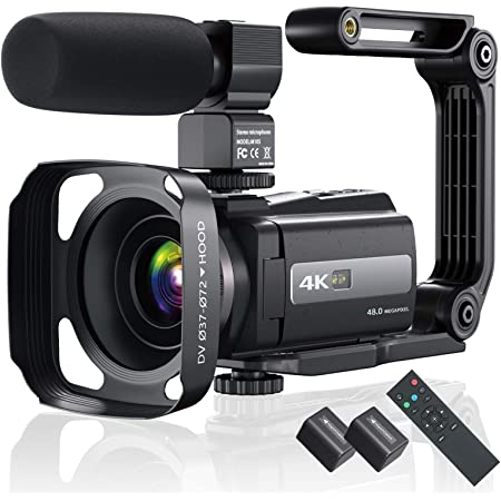 4K 60FPS Video Camera Camcorder Ultra HD 48MP YouTube Camera Vlogging WiFi Digital Camera Recorder IPS Touch Screen IR Night Shot Camcorder with Microphone, 2.4 G Remote, Stabilizer, Hood, Batteries