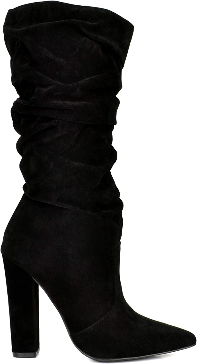 Shoe Republic LA Women's Mid Calf Slouch Boots Pointed Toe Chunky Under Knee Booties