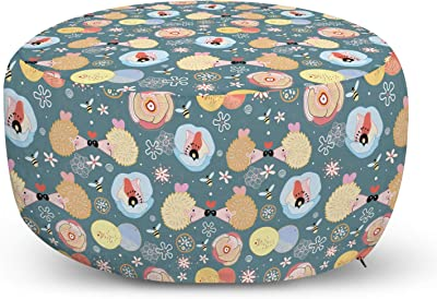 Multicolor Moroccan Culture Theme Traditional Nature Garden Inspired Round Motifs Ambesonne Mandala Ottoman Pouf Decorative Soft Foot Rest with Removable Cover Living Room and Bedroom
