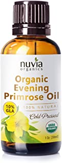 Nuvia Organics Evening Primrose Oil, USDA Certified 100% Pure Cold Pressed, Solvent-Free Extraction; 1 oz